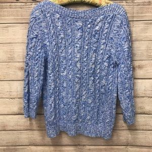 Lands' End Cable Knit Blue & White Sweater Size M